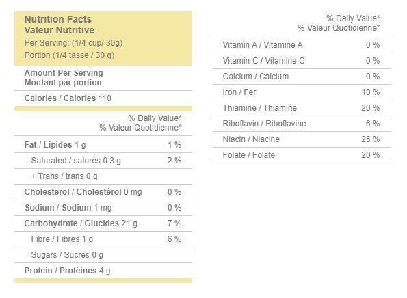 Golden Temple Flour Nutrition facts Image
