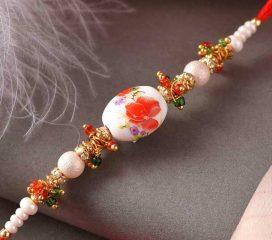 Beautiful Floral Design Pearl Rakhi