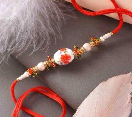Beautiful Floral Design Pearl Rakhi2