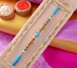 Blue Crystals Pearl Rakhi