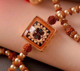 Flower Enamelled Pearl & Beads Rudraksh Rakhi-1