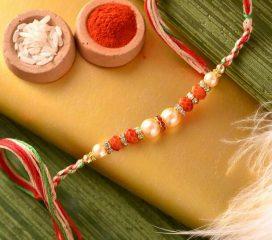 Pearls & Crystal Rakhi with Alluring Pooja Thali