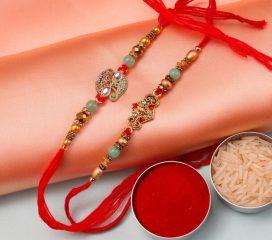 Designer Beads Set of Two Rakhis