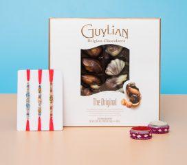 Dazzling Three Designer Rakhi Set with Belgian Chocolate
