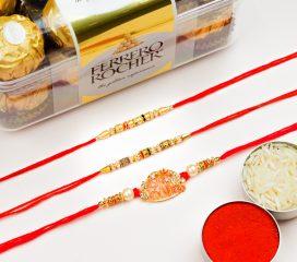 Designer Pearl Set Of 3 Rakhis With Ferrero Rocher