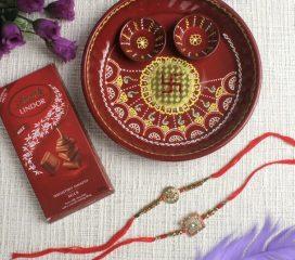 Ethnic Rakhi Set Trishul & Shree with Puja Thali & Lindt Chocolate