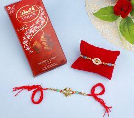 Kundan Rakhi Set Of Two with Lindt Chocolates