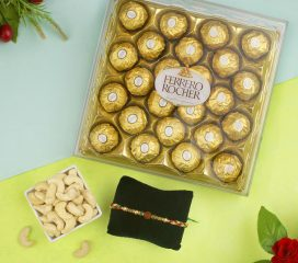 Rudraksha Rakhi with Ferrero Rocher Chocolate